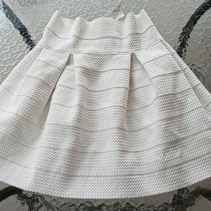 H&M High Waist Stretchy Cream A-line Skirt